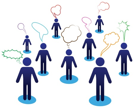 Illustration pour Business team chat, people dialog, web icon. Vector diagram, network communication. Idea illustration. - image libre de droit