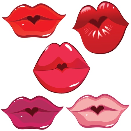 Woman sexy lip heart kiss. Female valentine hole. Vector art illustration. Smile.