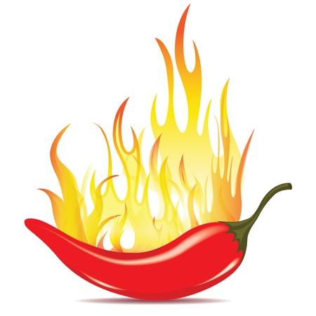Hot chilli pepper in energy fire. Vector icon isolated on white background. Burning red chili symbol of mexican culture.