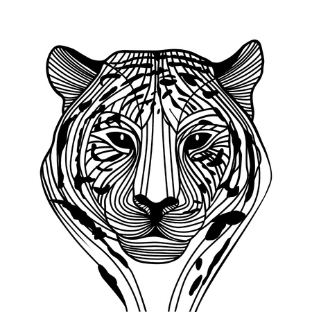 Tiger head vector animal illustration for t-shirt  Sketch tattoo design