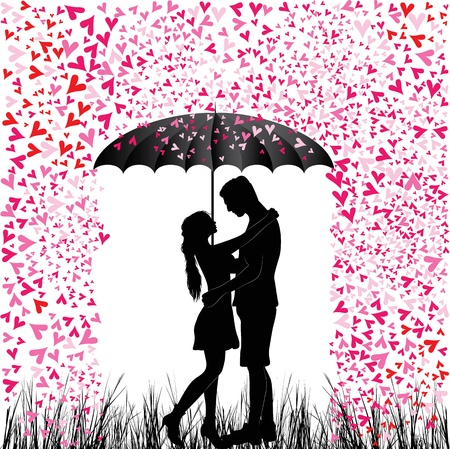 Kissing couple heart rain  Man and woman in love  Valentine day background  Young people under umbrella  Isolated on white