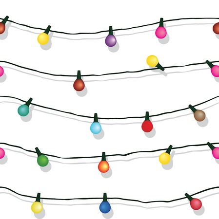 Seamless string of Christmas lights on garland background  isolated on white