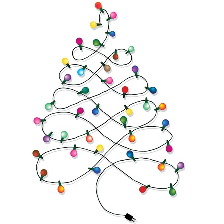 Christmas tree garland lights string of Christmas background isolated on white