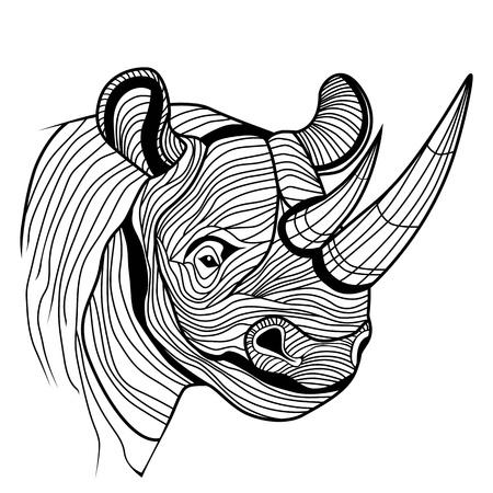 Ilustración de Rhino rhinoceros animal head as symbol for mascot or emblem design, logo vector illustration for t-shirt  Sketch tattoo design  - Imagen libre de derechos