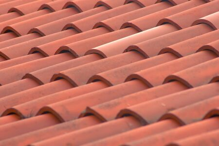 Photo for Roman terracotta tiles on an italian country house. Detail texture shot. - Royalty Free Image