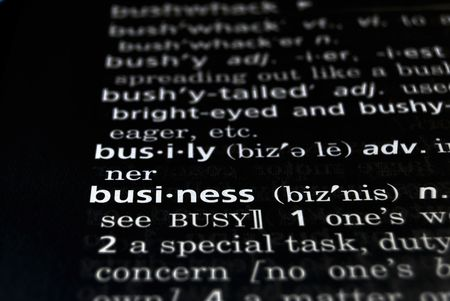 The word Business in a dictionary, white on black