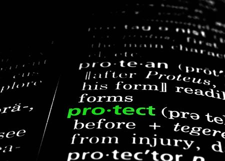 The word protect in a dictionary, green on black