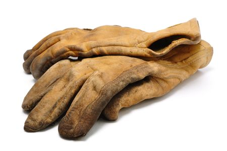 Old Dirty Leather Work Gloves Isolated On White