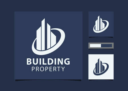 Illustration for Abstract Building design for real estate, property business with mockup id card. - Royalty Free Image