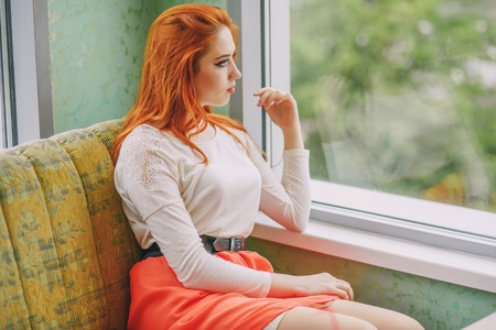 girl near window