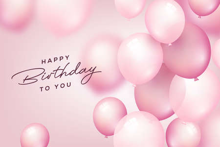 Illustration for Birthday celebration and party background with pink flying balloons for Birthday and Anniversary poster. Vector illustration. - Royalty Free Image