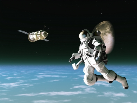 Spacesuited astronaut with satellite in low orbit