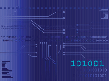 Vector of a circuit board with binary codes as the background. Concept: Technology