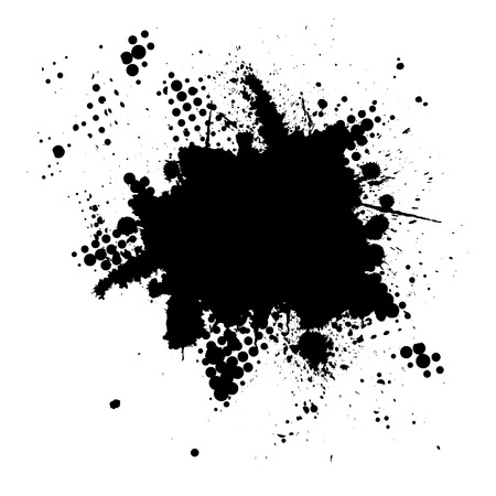 Illustration for Vector - Halftone ink splat grunge background for text. - Royalty Free Image