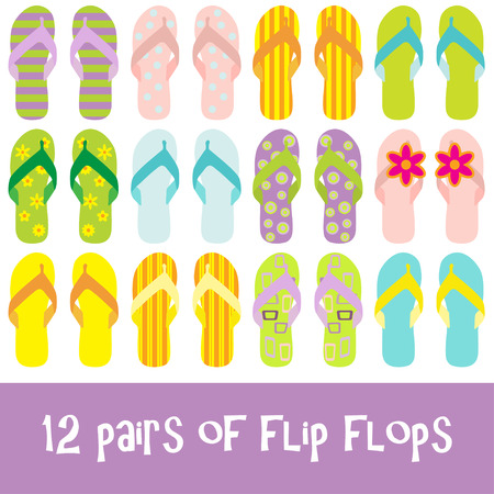 12 pairs of brightly colored flip flops - thongs