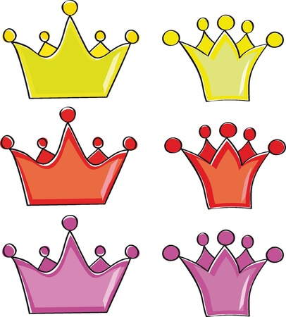 A collection of crowns on a white background