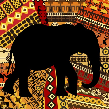 Elephant silhouette on ethnic textures background