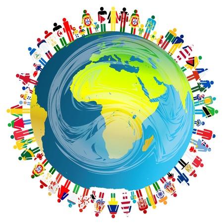 Illustration pour Peace concept with planet Earth and people - image libre de droit
