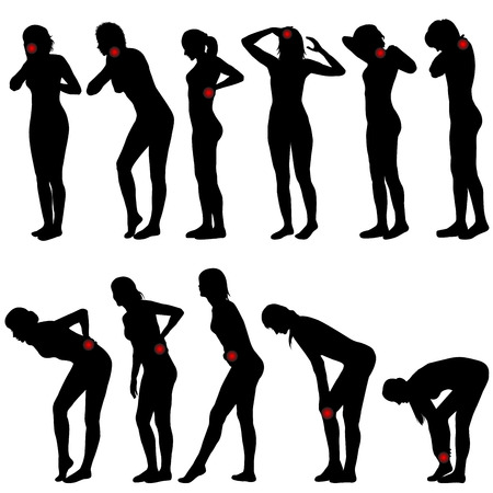 Silhouettes of women with different pain locations