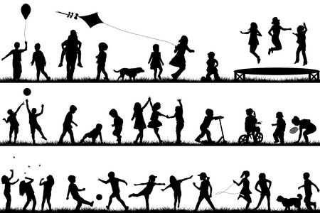 Vektor für Set of children silhouettes playing outdoor - Lizenzfreies Bild