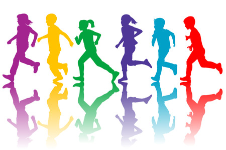 Illustration for Colorful silhouettes of children running - Royalty Free Image