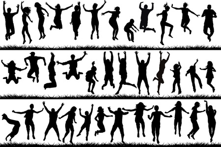 Illustrazione per Silhouettes of young people and children jumping - Immagini Royalty Free