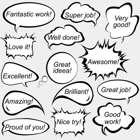 Illustration pour Set of speech bubbles with positive feedback messages - image libre de droit