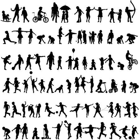 Illustration pour Set of black children silhouettes - image libre de droit