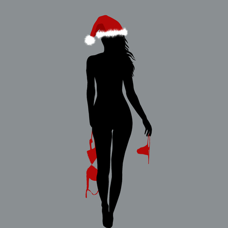 Illustration for Naked Santa woman silhouette holding her lingerie in her hands - Royalty Free Image