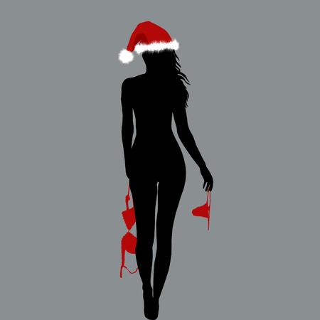 Illustration pour Naked Santa woman silhouette holding her lingerie in her hands - image libre de droit