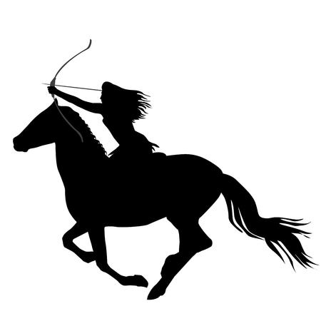 Illustration pour Black silhouette of an amazon warrior woman riding a horse with bow and arrow  - image libre de droit