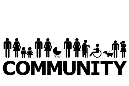 Illustration for Community concept with people pictograms and word community - Royalty Free Image