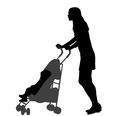 Illustration for Mother walking while pushing a stroller. Silhouette on white background - Royalty Free Image