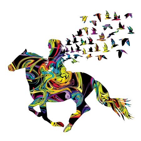 Illustration pour Abstract colorful woman horse rider with birds - image libre de droit