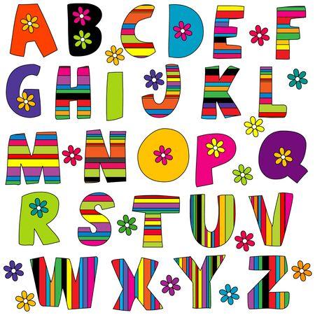 Illustration pour Cute colorful  English alphabet with flowers and stripes - image libre de droit