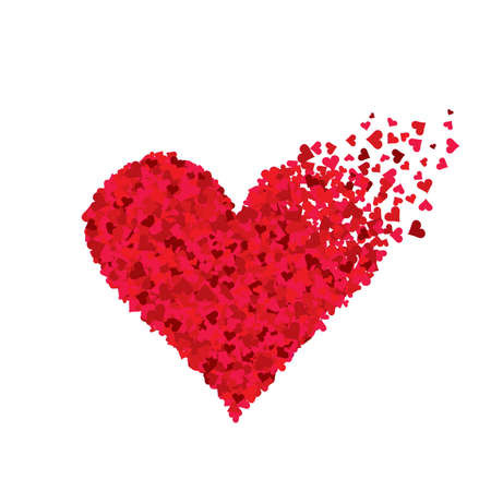 Photo pour Red flying hearts of different sizes in the shape of heart - image libre de droit