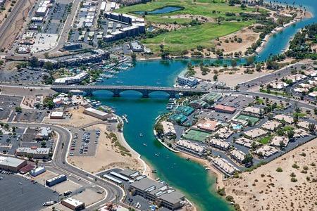 Lake Havasu, Arizona with an aerial view of the city center and the London Bridge