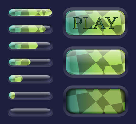 Isolated Game interface elements, button, resource progress bar. Vector illistration gui assets collection for game menu design. Can be used for Web, Mobile App, Infographics.