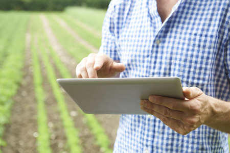 Foto de Close Up Of Farmer Using Digital Tablet On Organic Farm - Imagen libre de derechos