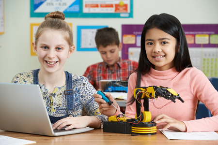 Photo for Pupils In Science Lesson Studying Robotics - Royalty Free Image