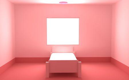 Empty brightly lit window room interior 3d, horizontal background