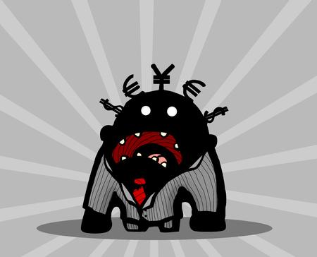 Businessman cartoon character yelling, vector illustration, horizontal