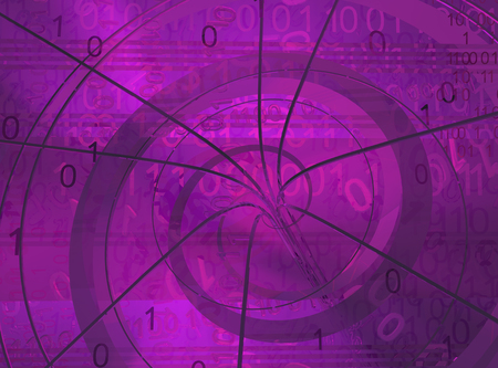 Dark vortex purple, cyberspace virtual reality abstract 3d illustration, horizontal
