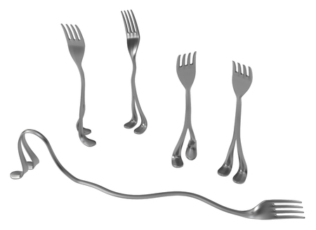 Fork metal with legs, lazy one, 3d illustration, horizontal, isolated, over white