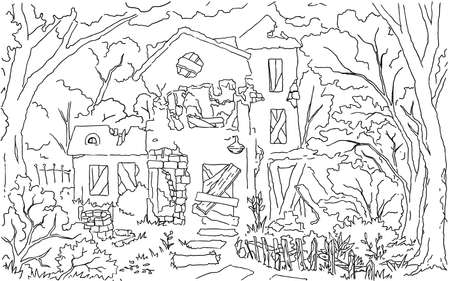 Illustration pour Old dilapidated house scene line drawing background, vector, horizontal, black and white - image libre de droit