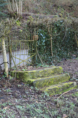 Old rusty garden gate, door, with a stone stair in the garden
