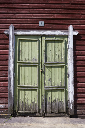 locked door of old storage shed