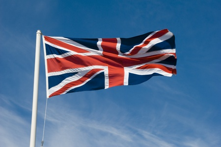 Union jack flying in the sky