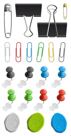 Illustration pour Elements for attaching paper: pin, plasticine and paperclip set - image libre de droit