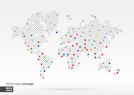 Stylized World Map concept with biggest cities  Globes business background Colorful vector illustration